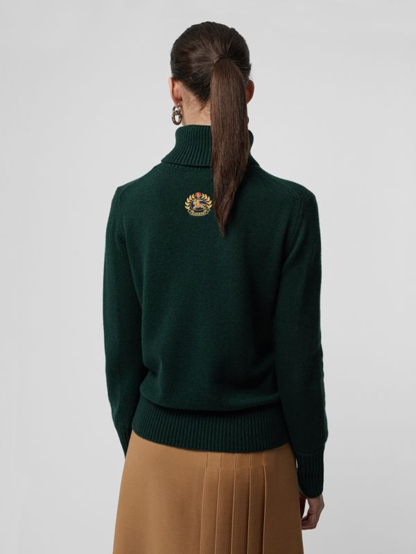 Embroidered Crest Cashmere Roll-neck Sweater in Dark Cedar Green - Women | Burberry - cell image 2