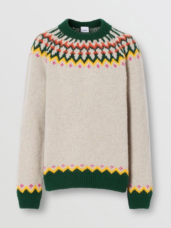 Fair Isle Wool Sweater in Sesame