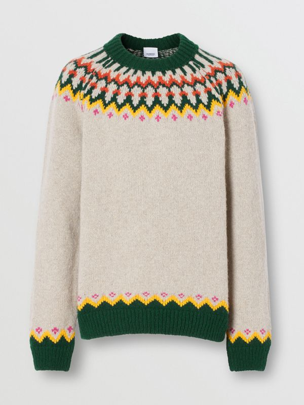 Fair Isle Wool Sweater in Sesame - Men | Burberry - cell image 3