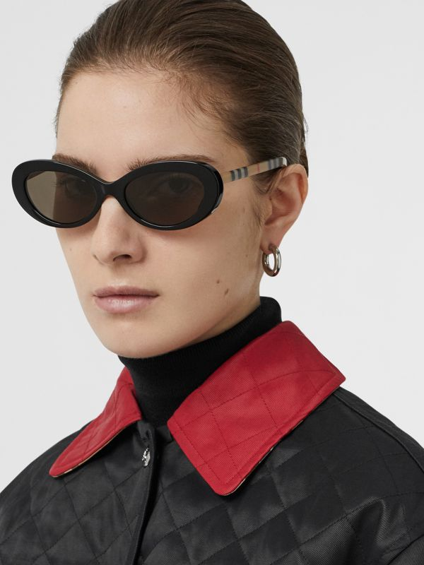 Vintage Check Detail Cat-eye Frame Sunglasses in Black - Women | Burberry Singapore - cell image 2