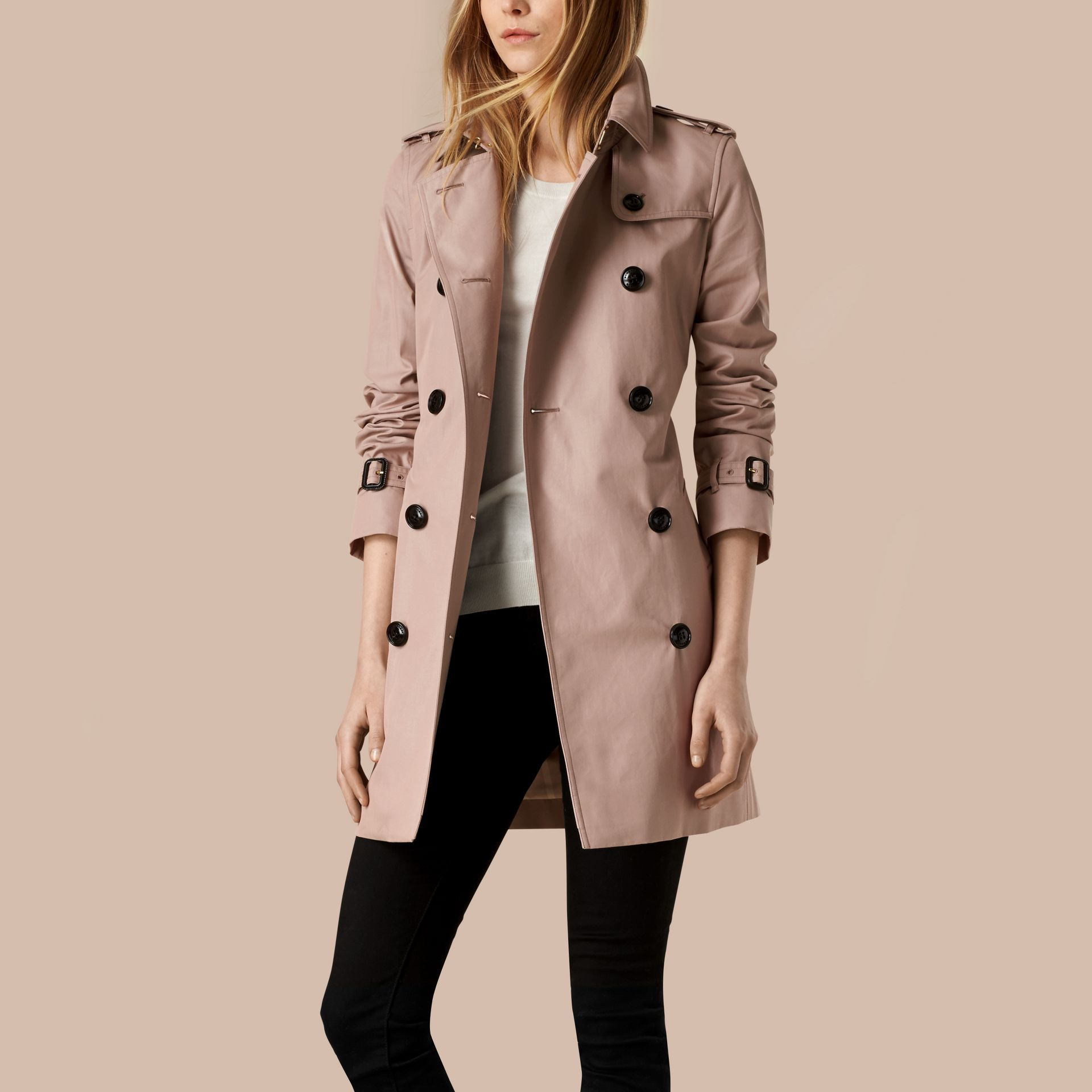Nude Lightweight Cotton Gabardine Trench Coat Nude - gallery image 6