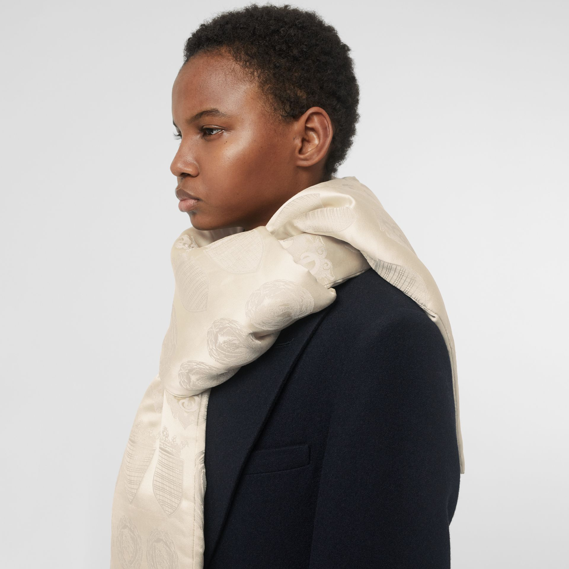 Archive Shield Silk Jacquard Puffer Scarf in Stone | Burberry - gallery image 3