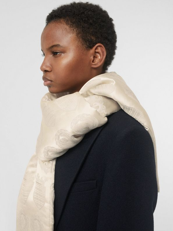 Archive Shield Silk Jacquard Puffer Scarf in Stone