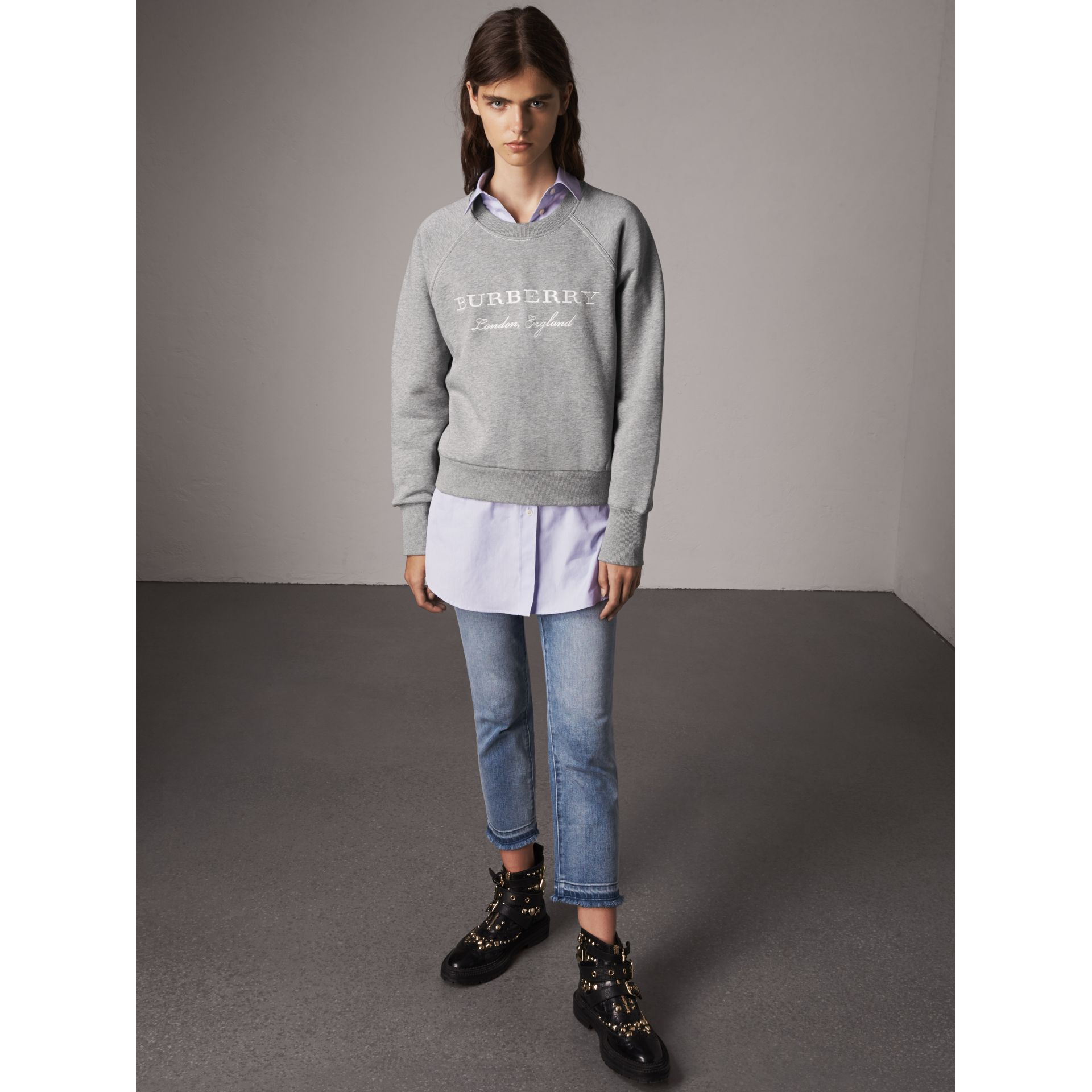 Embroidered Cotton Blend Jersey Sweatshirt in Pale Grey Melange - Women | Burberry Australia - gallery image 5