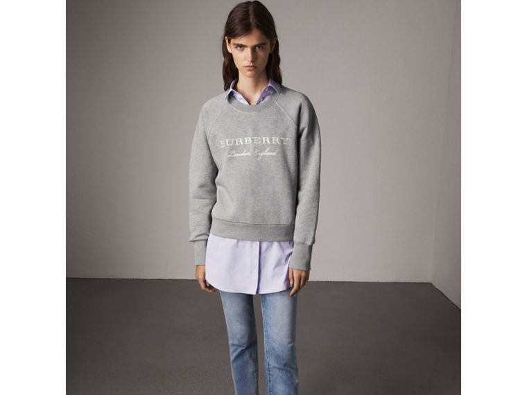 Embroidered Cotton Blend Jersey Sweatshirt in Pale Grey Melange - Women | Burberry United States - cell image 4