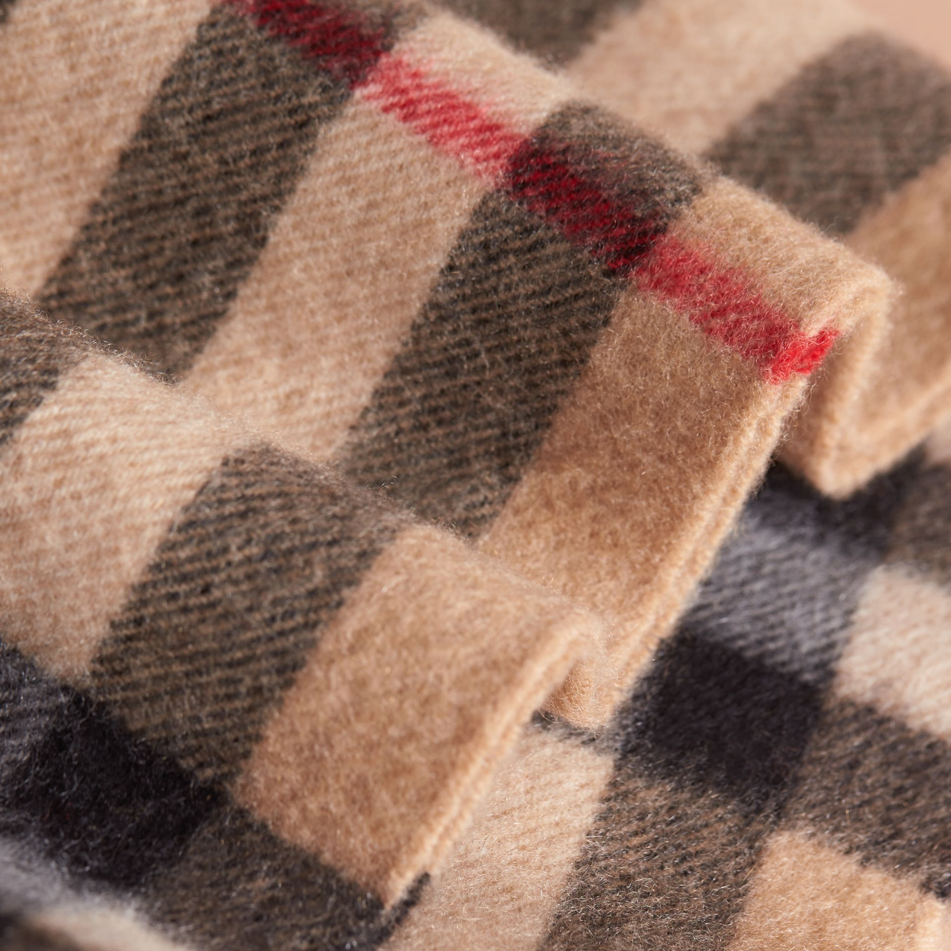 Exploded Check Cashmere Snood in Camel | Burberry Australia - gallery image 2