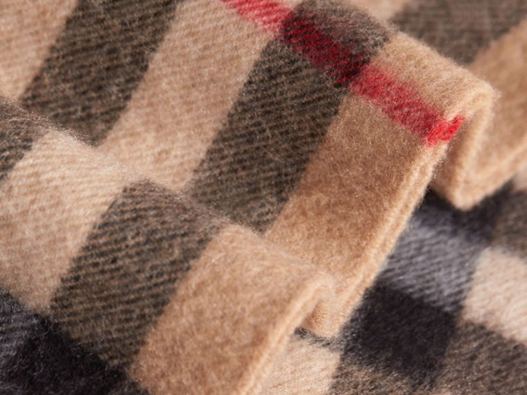 Exploded Check Cashmere Snood in Camel | Burberry - cell image 1