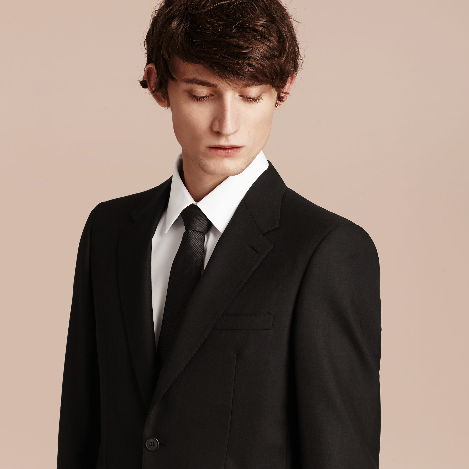 Black Modern Fit Wool Part-canvas Suit Black - gallery image 5