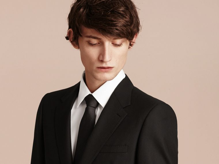 Modern Fit Wool Part-canvas Suit in Black - cell image 4