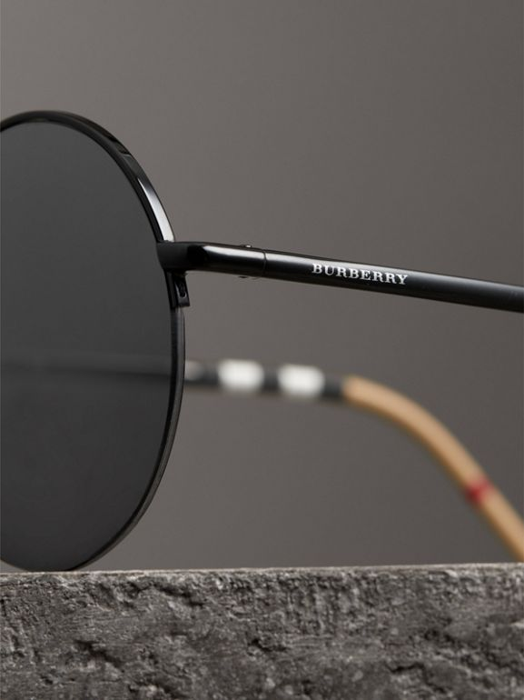 Check Detail Round Frame Sunglasses in Black - Women | Burberry - cell image 1