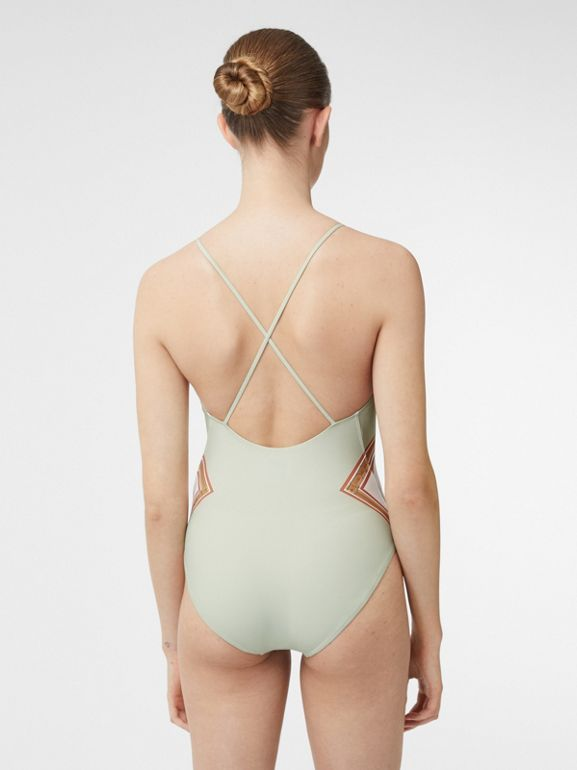 Archive Scarf Print Swimsuit in Stone Green - Women | Burberry - cell image 1