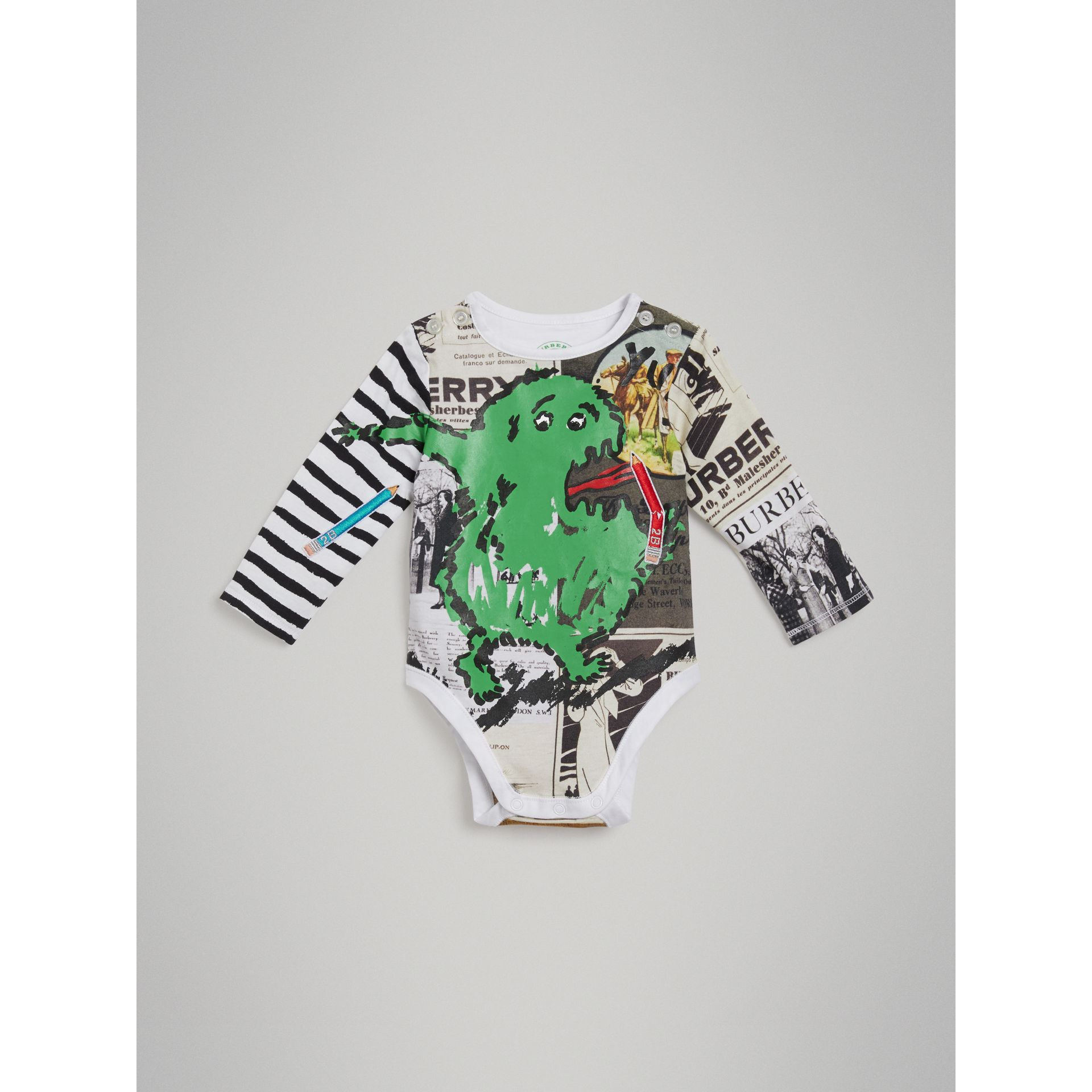 Monster Motif Three-piece Baby Gift Set in Green - Children | Burberry - gallery image 2