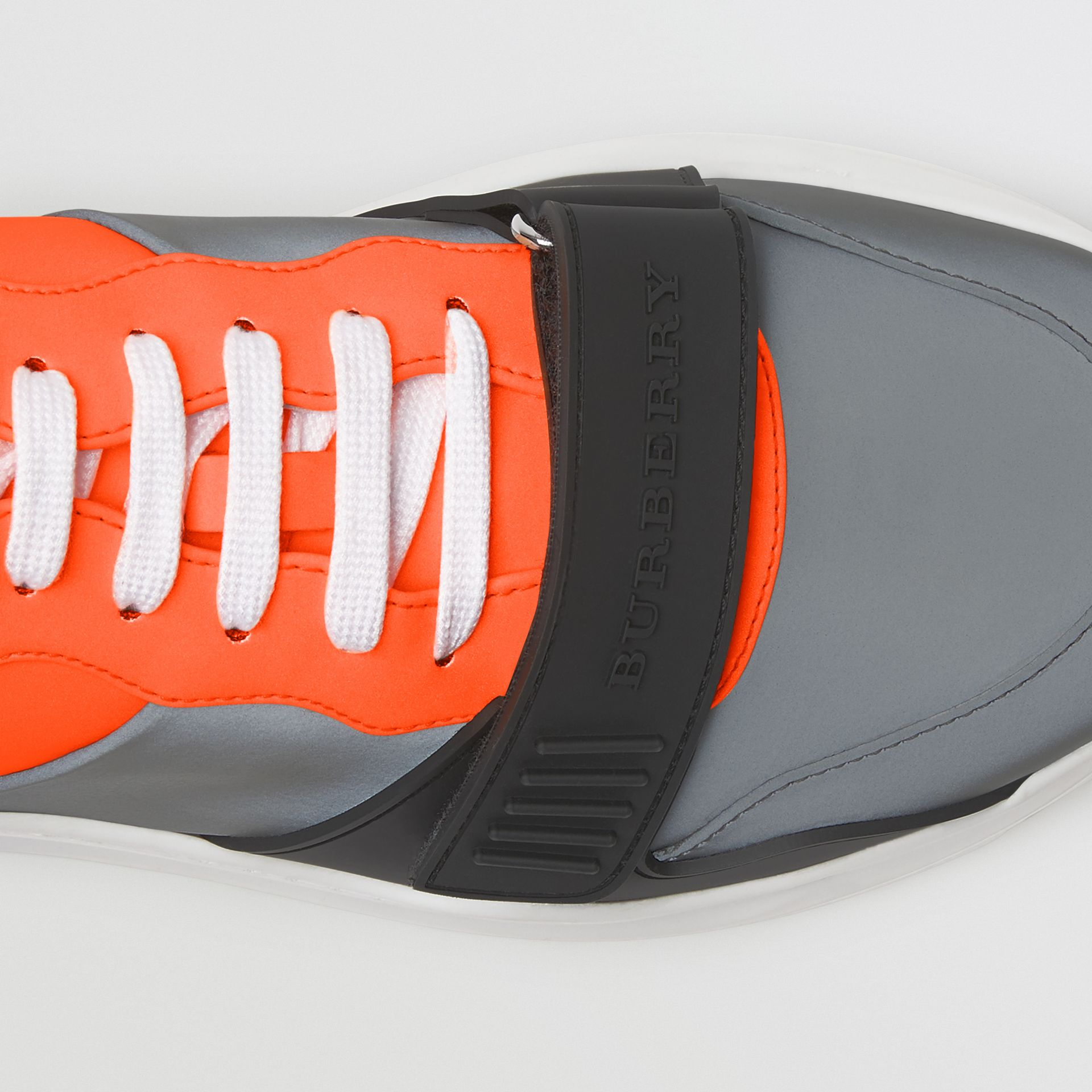 Colour Block Sneakers in Silver Grey/orange - Men | Burberry - gallery image 1