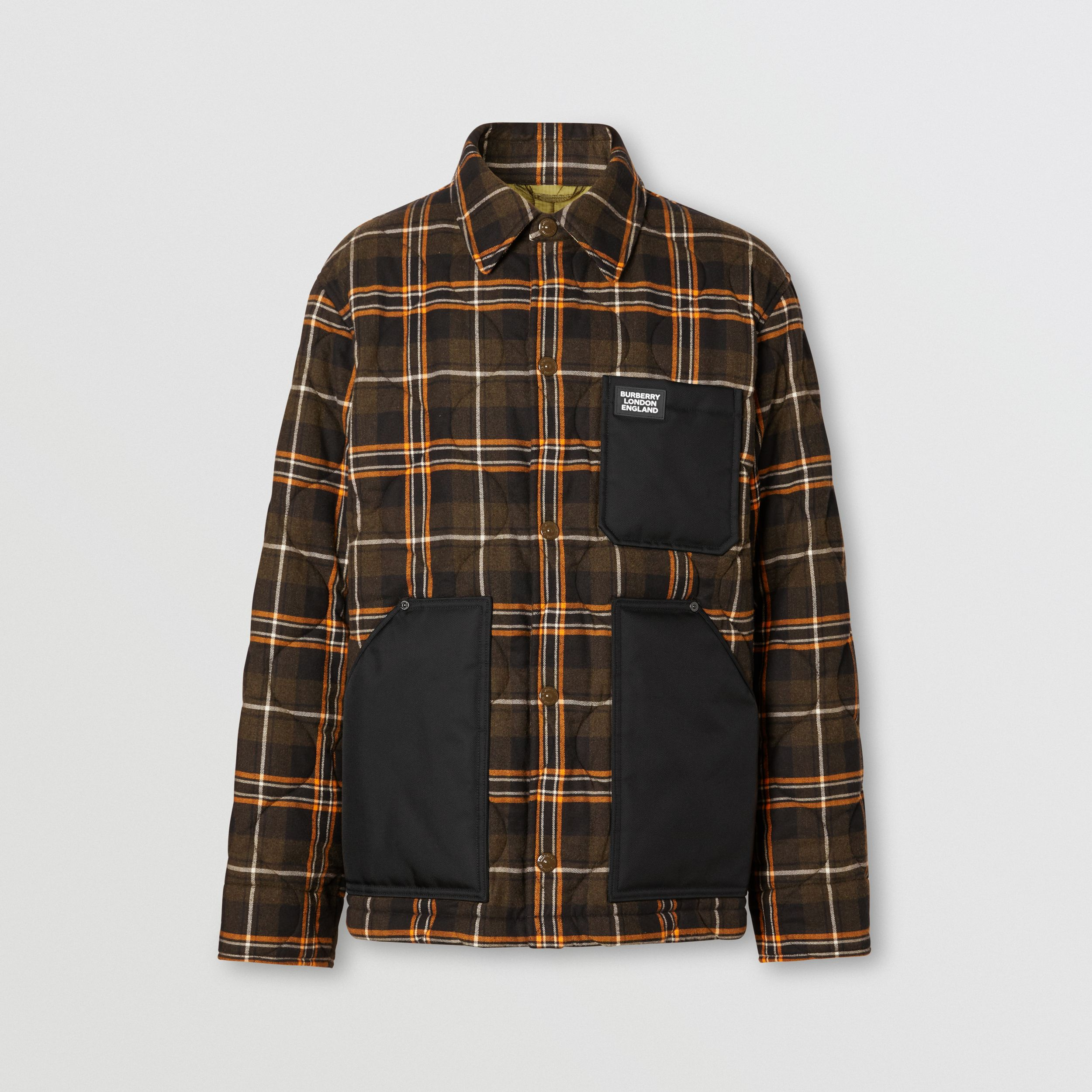 Contrast Pocket Check Cotton Flannel Overshirt in Olive - Men | Burberry - 4