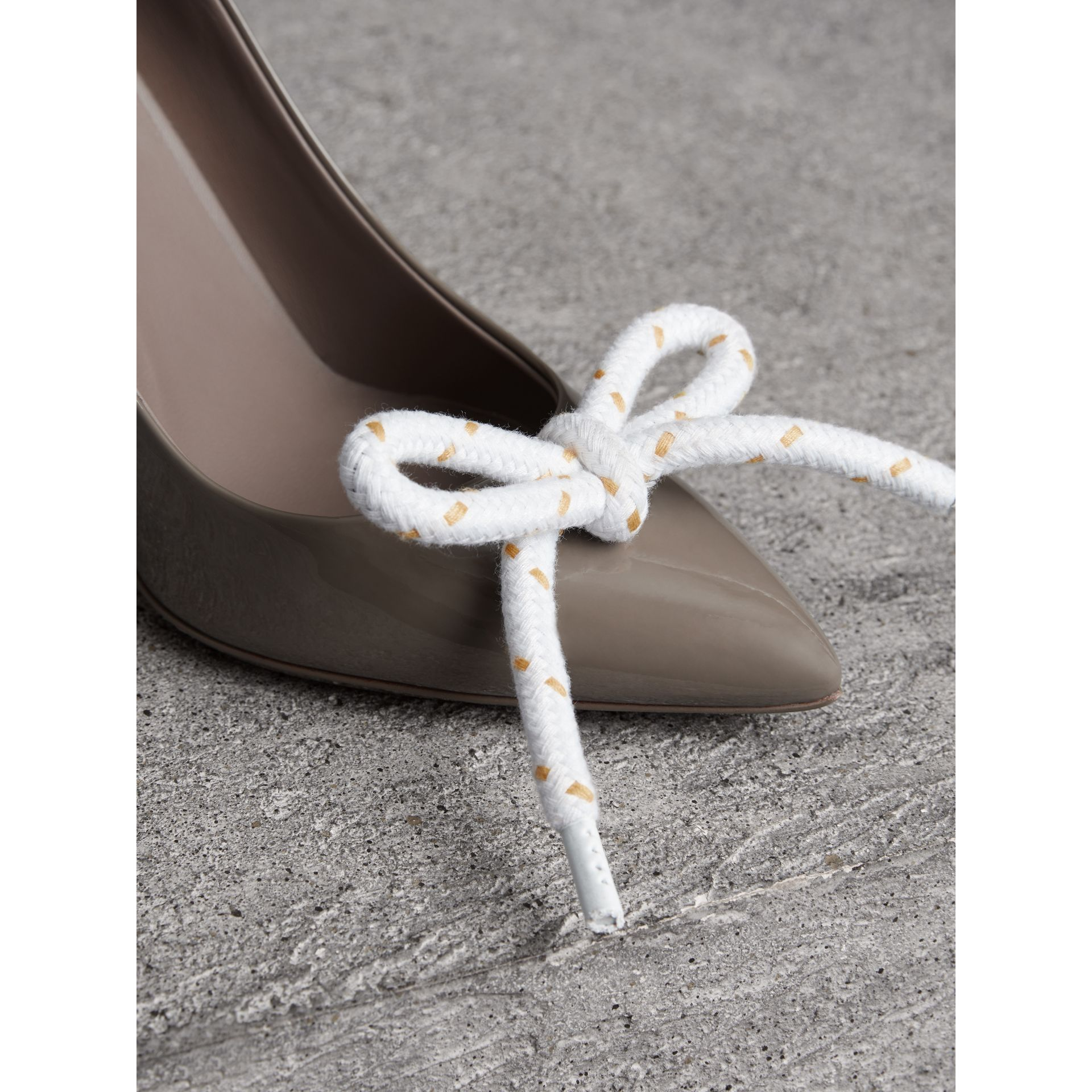 The Patent Leather Rope Stiletto in Taupe Grey - Women | Burberry - gallery image 1