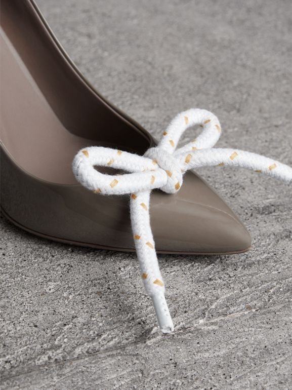 The Patent Leather Rope Stiletto in Taupe Grey - Women | Burberry - cell image 1