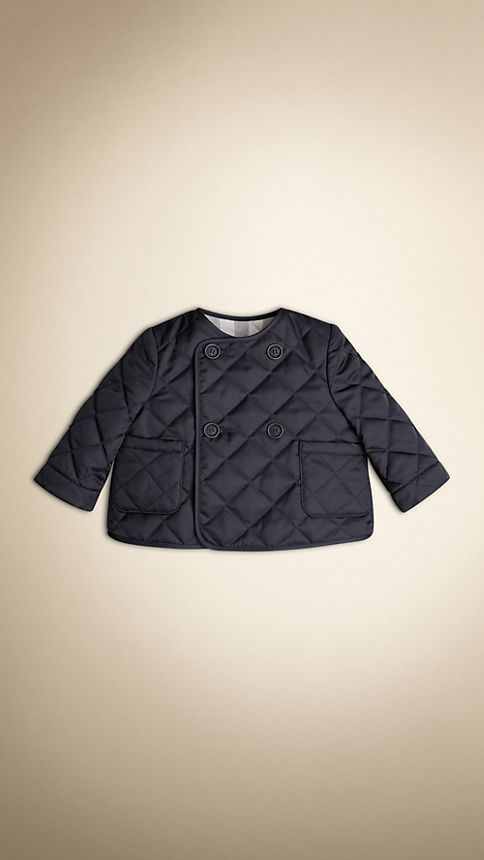 Navy Collarless Diamond Quilted Jacket Navy - Image 4