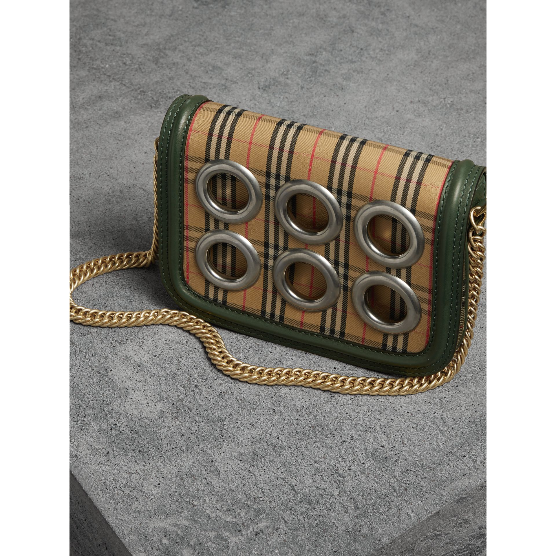 The 1983 Check Link Bag with Grommet Detail in Dark Forest Green - Women | Burberry United Kingdom - gallery image 6
