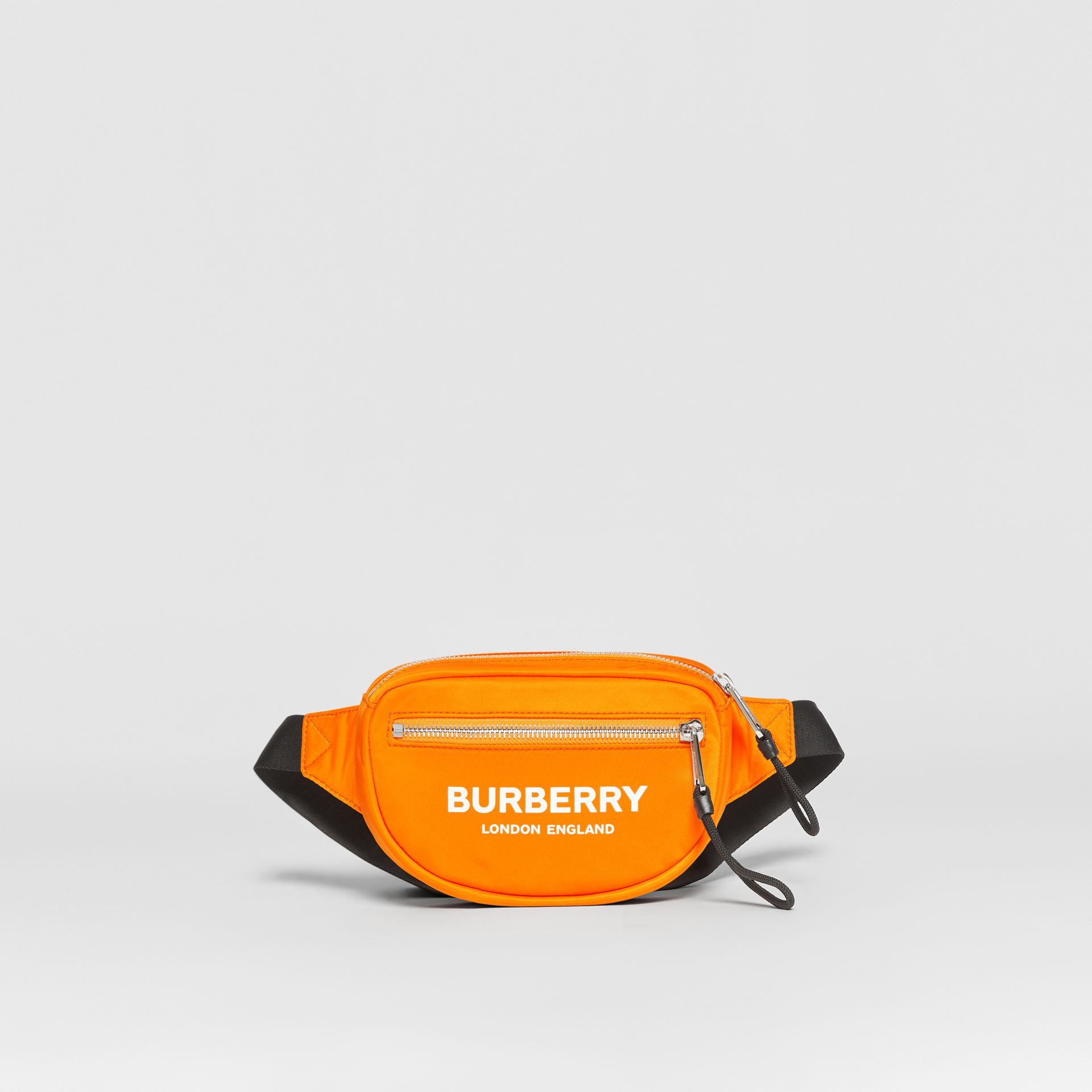 Small Logo Print ECONYL® Cannon Bum Bag in Bright Orange | Burberry - gallery image 0