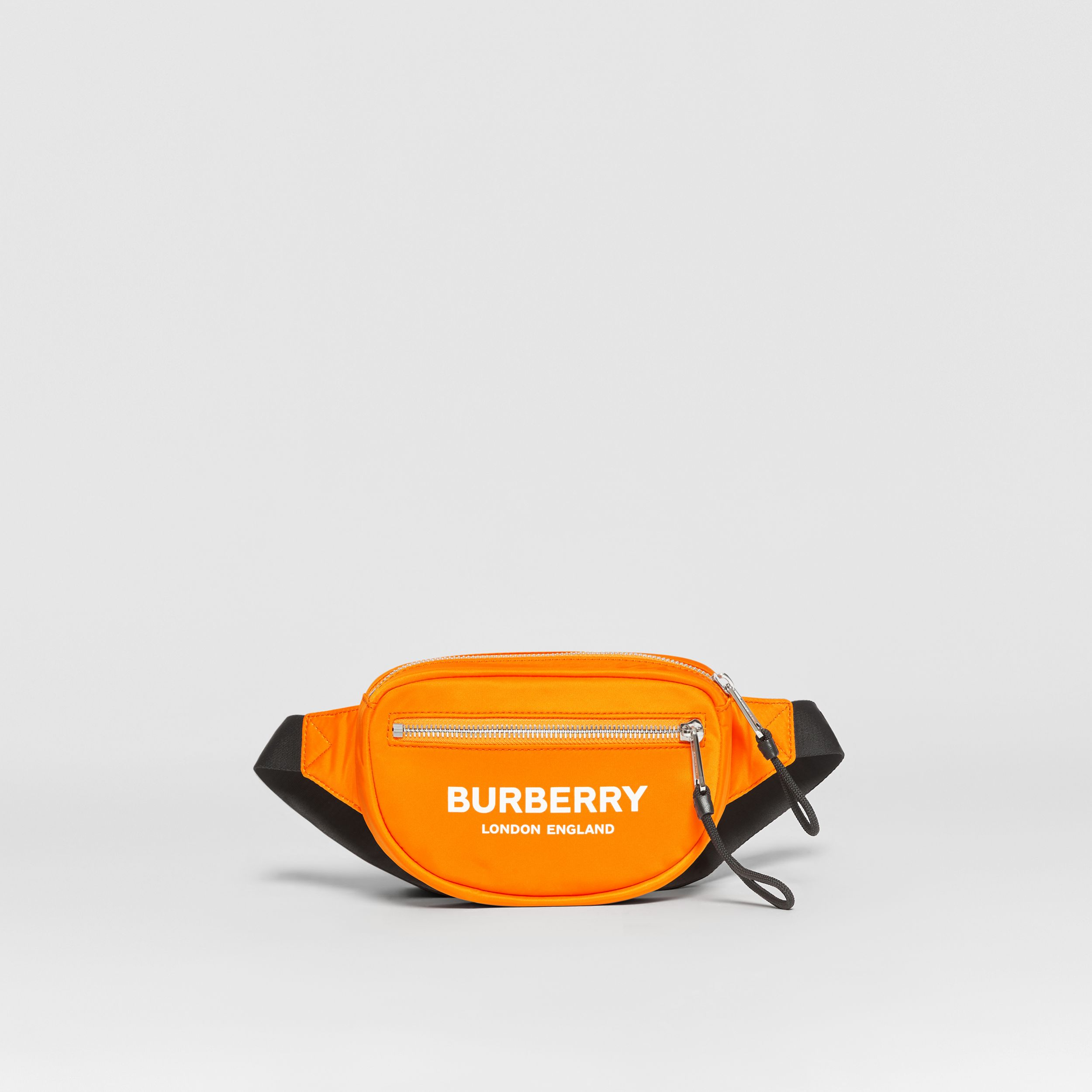 Small Logo Print ECONYL® Cannon Bum Bag in Bright Orange | Burberry - 1