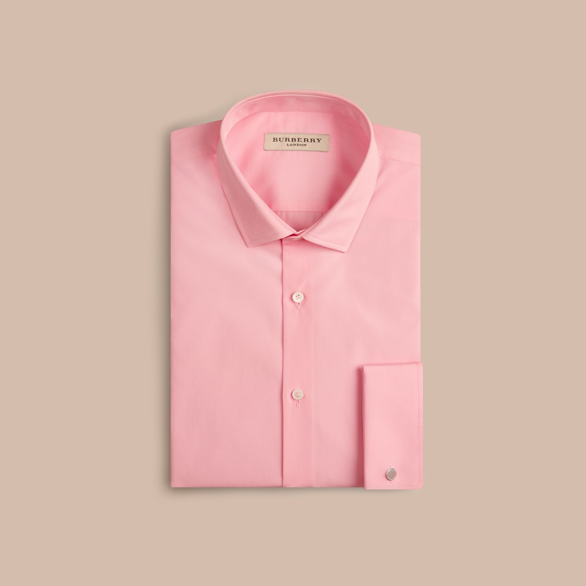 City pink Slim Fit Double-cuff Cotton Poplin Shirt - gallery image 4