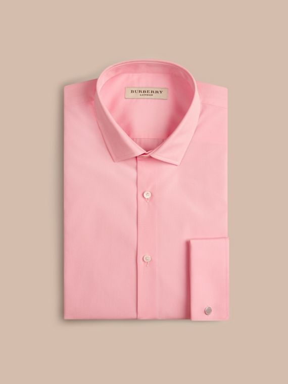City pink Slim Fit Double-cuff Cotton Poplin Shirt - cell image 3