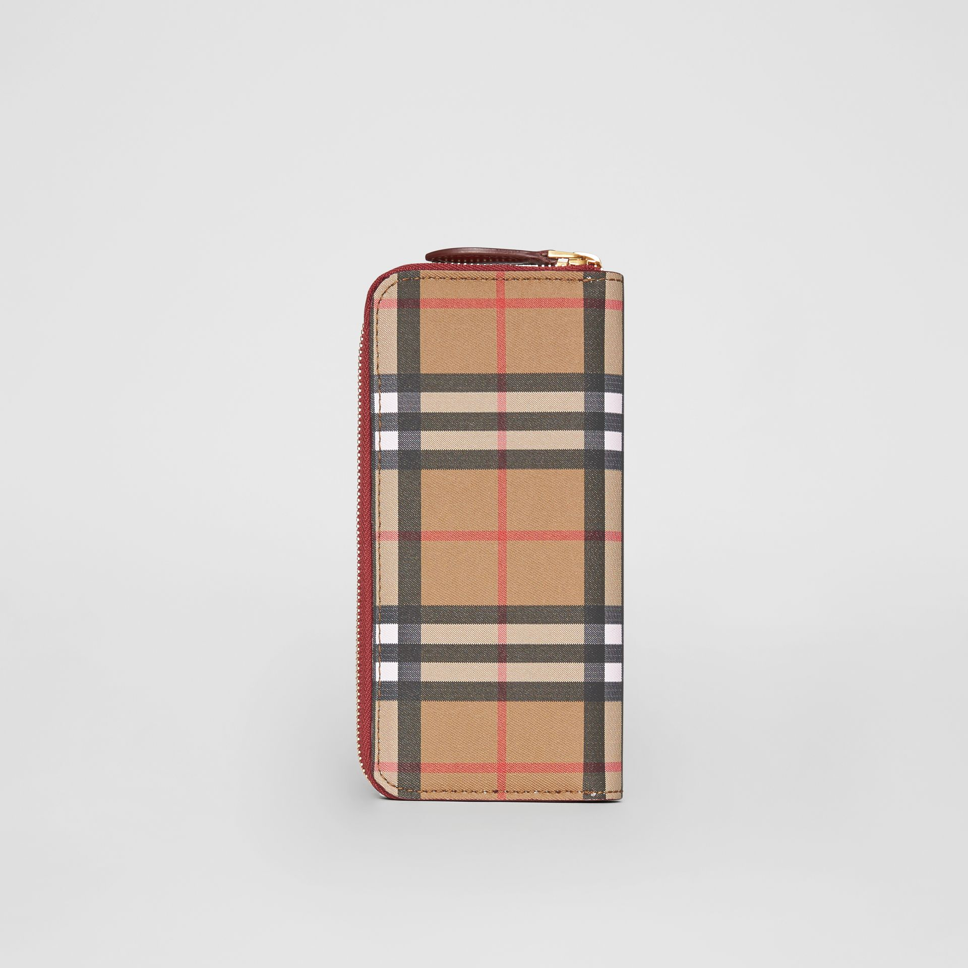 Vintage Check and Leather Ziparound Wallet in Crimson - Women | Burberry United Kingdom - gallery image 3