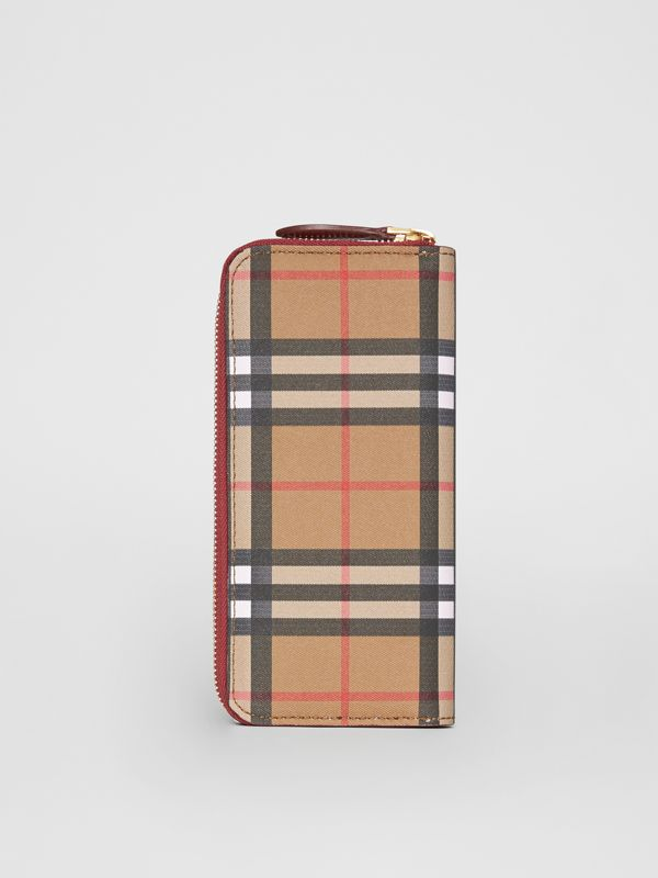 Vintage Check and Leather Ziparound Wallet in Crimson - Women | Burberry United Kingdom - cell image 3