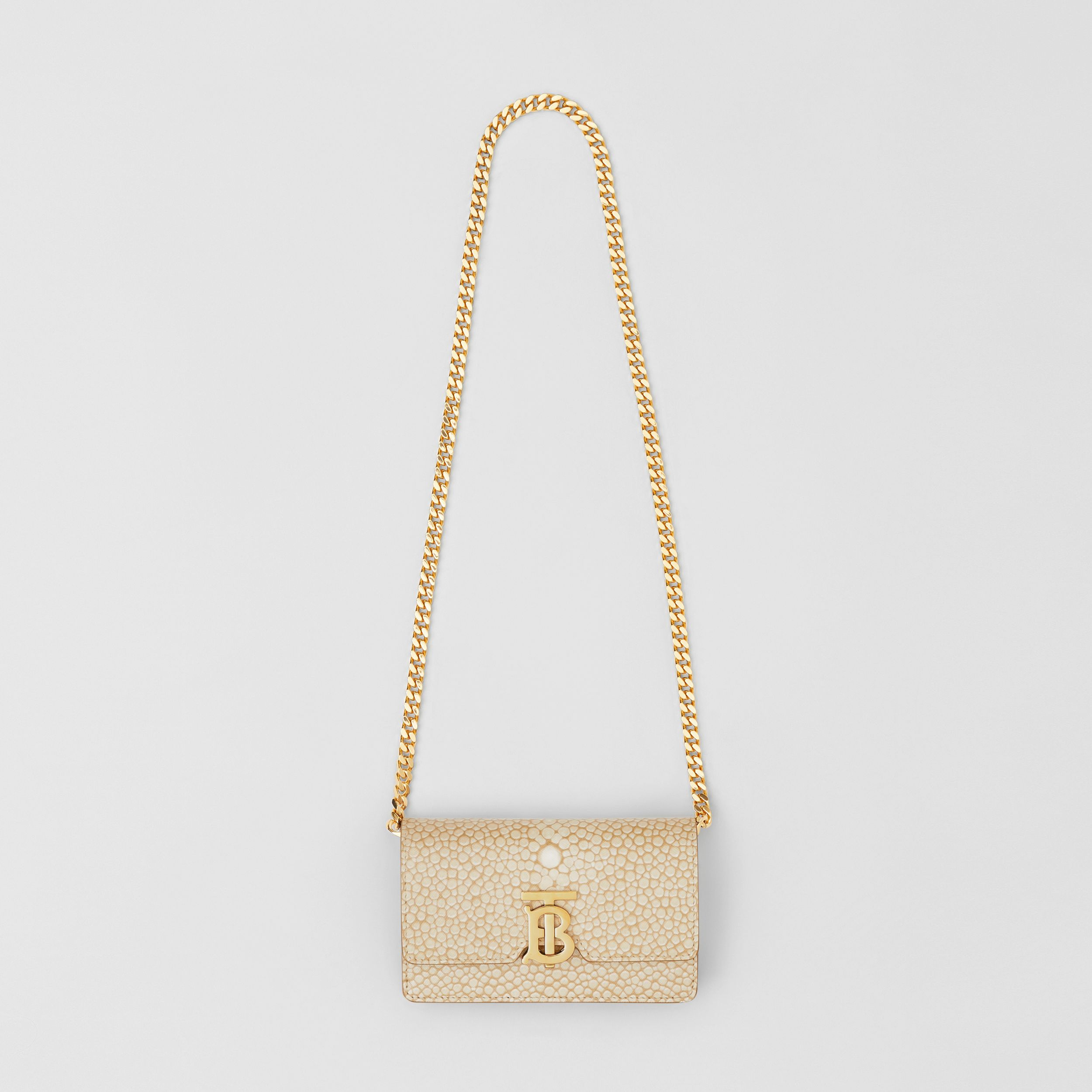 Mini Fish-scale Print Leather Shoulder Bag in Light Sand - Women | Burberry - 4