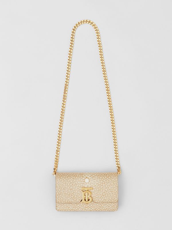 Mini Fish-scale Print Leather Shoulder Bag in Light Sand - Women | Burberry - cell image 3