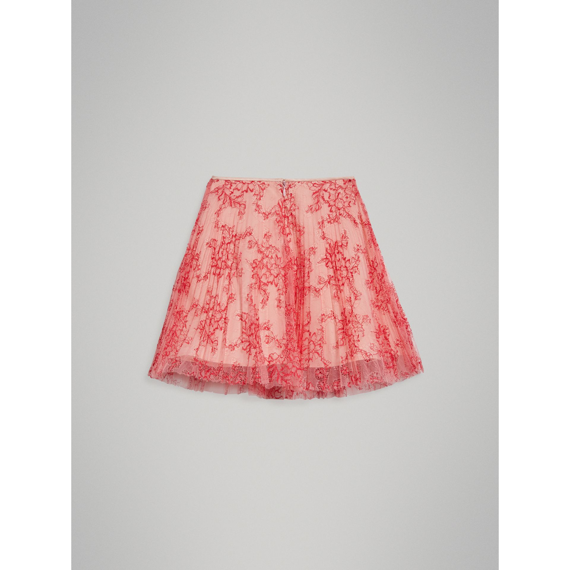 Pleated Lace Skirt in Pale Apricot/coral - Girl | Burberry - gallery image 3