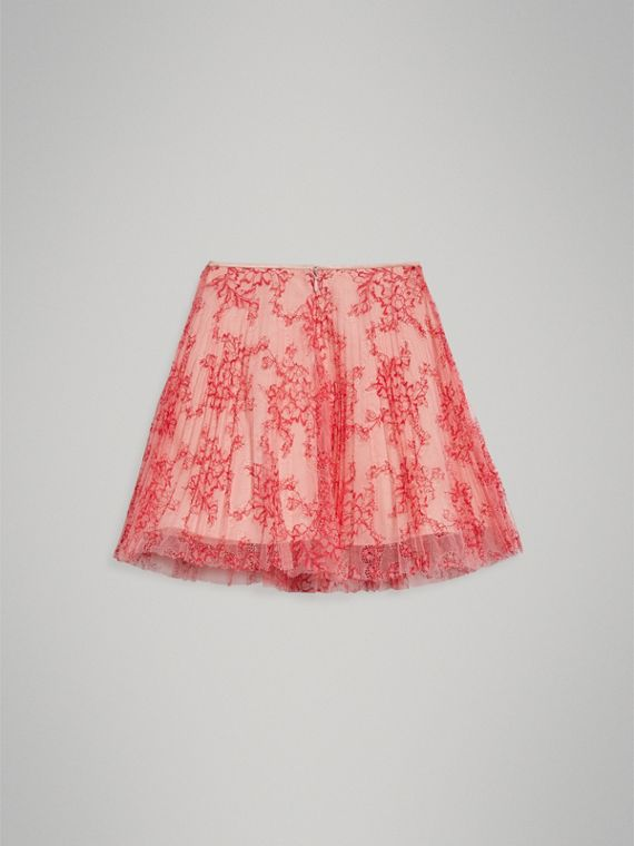 Pleated Lace Skirt in Pale Apricot/coral - Girl | Burberry Hong Kong - cell image 3