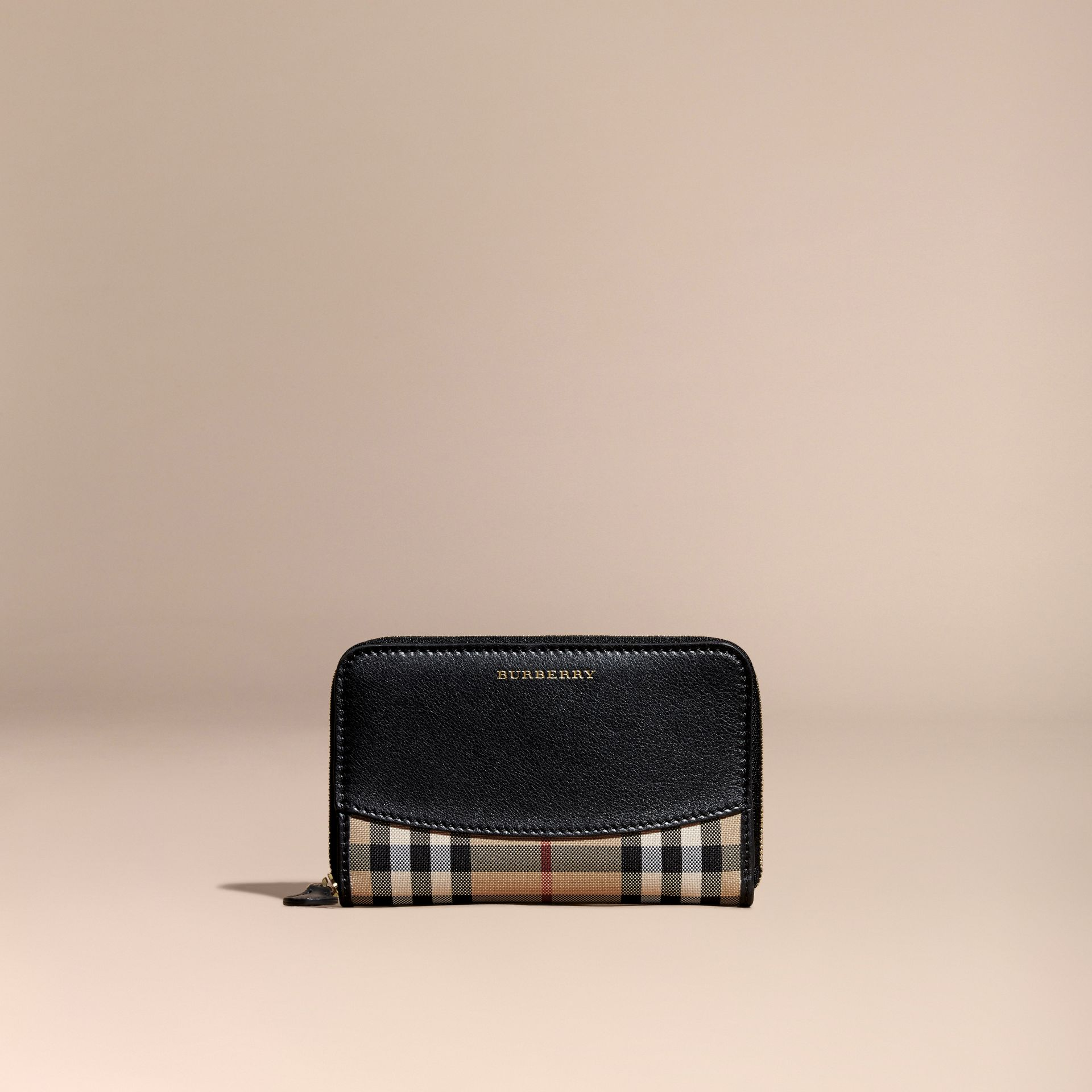 Black Horseferry Check and Leather Ziparound Wallet Black - gallery image 6