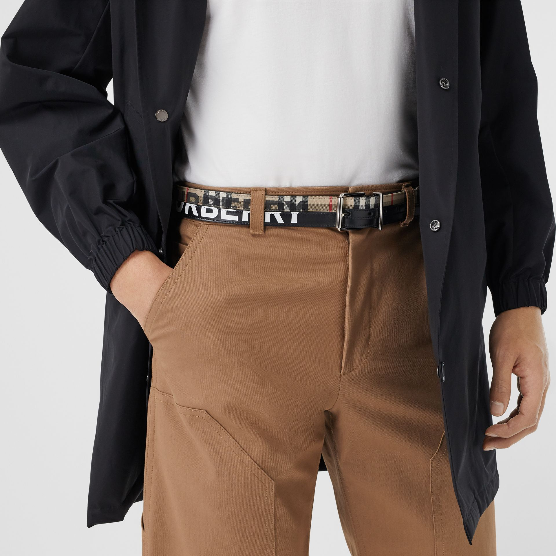Logo Print Vintage Check and Leather Belt in Archive Beige/black - Men | Burberry Hong Kong S.A.R - gallery image 2