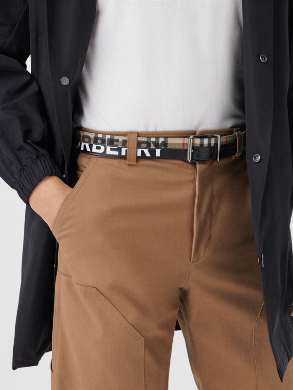 Logo Print Vintage Check and Leather Belt in Archive Beige/black - Men | Burberry Hong Kong S.A.R - cell image 2
