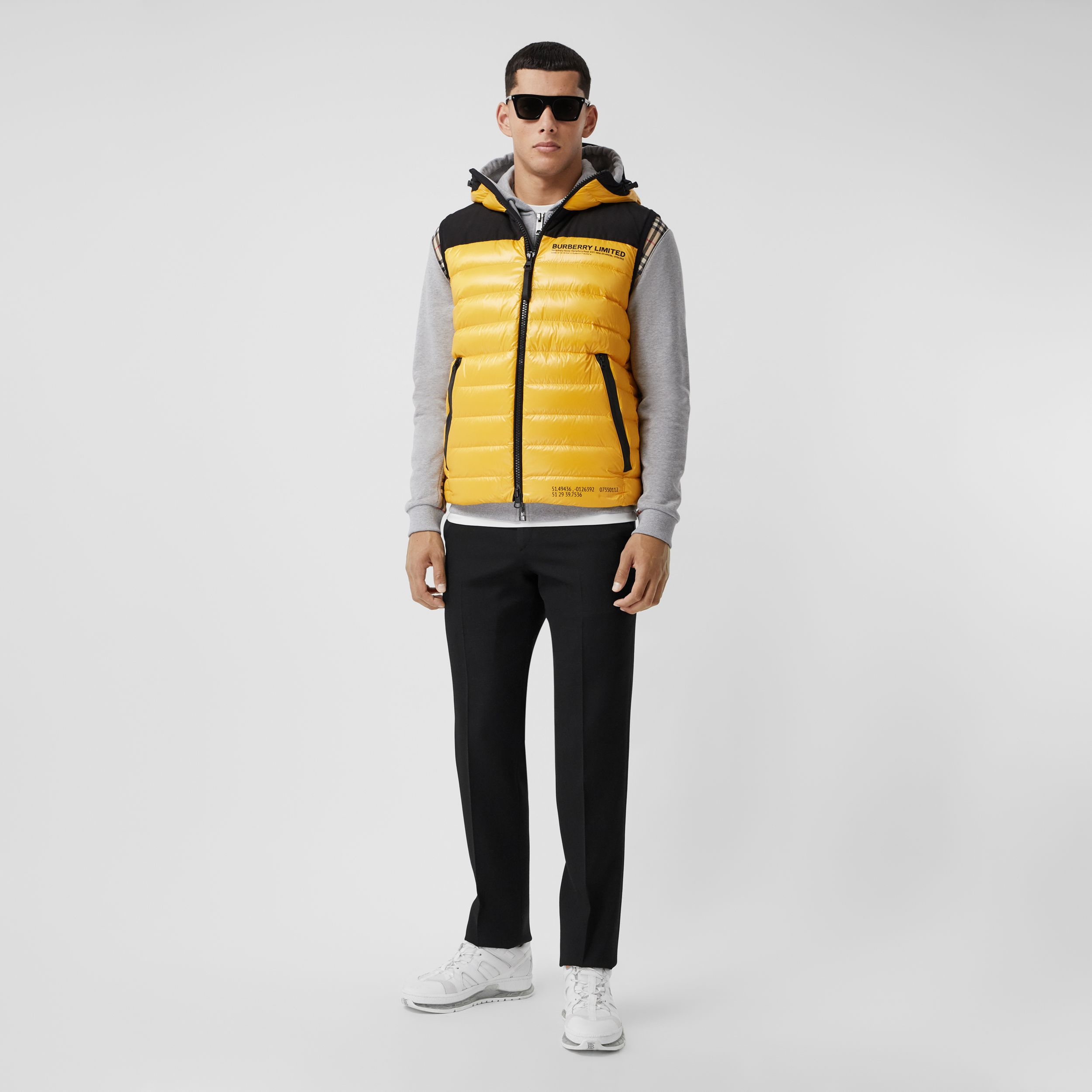 Hooded Location Print Puffer Gilet in Bright Yellow - Men | Burberry - 1