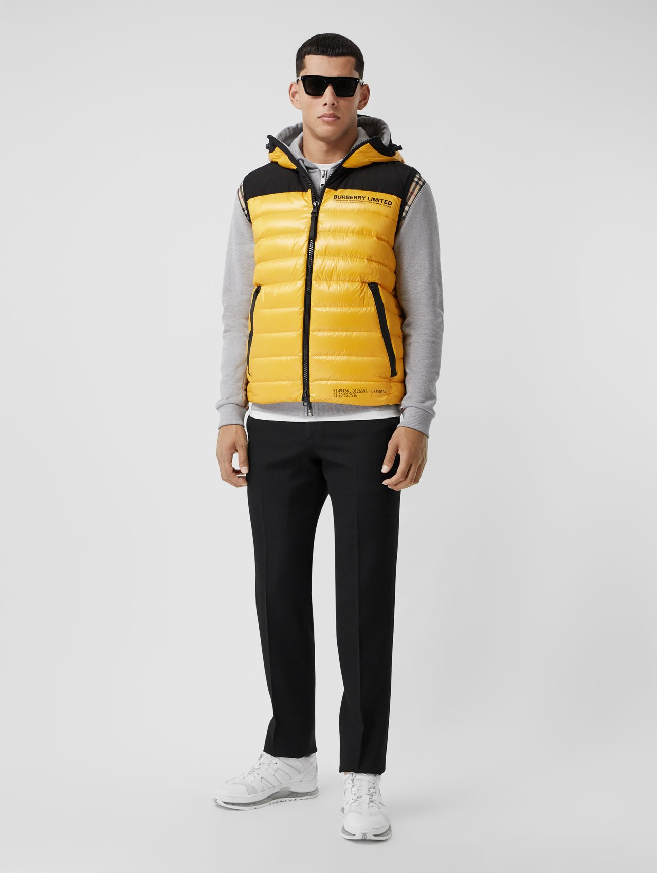 Hooded Location Print Puffer Gilet in Bright Yellow