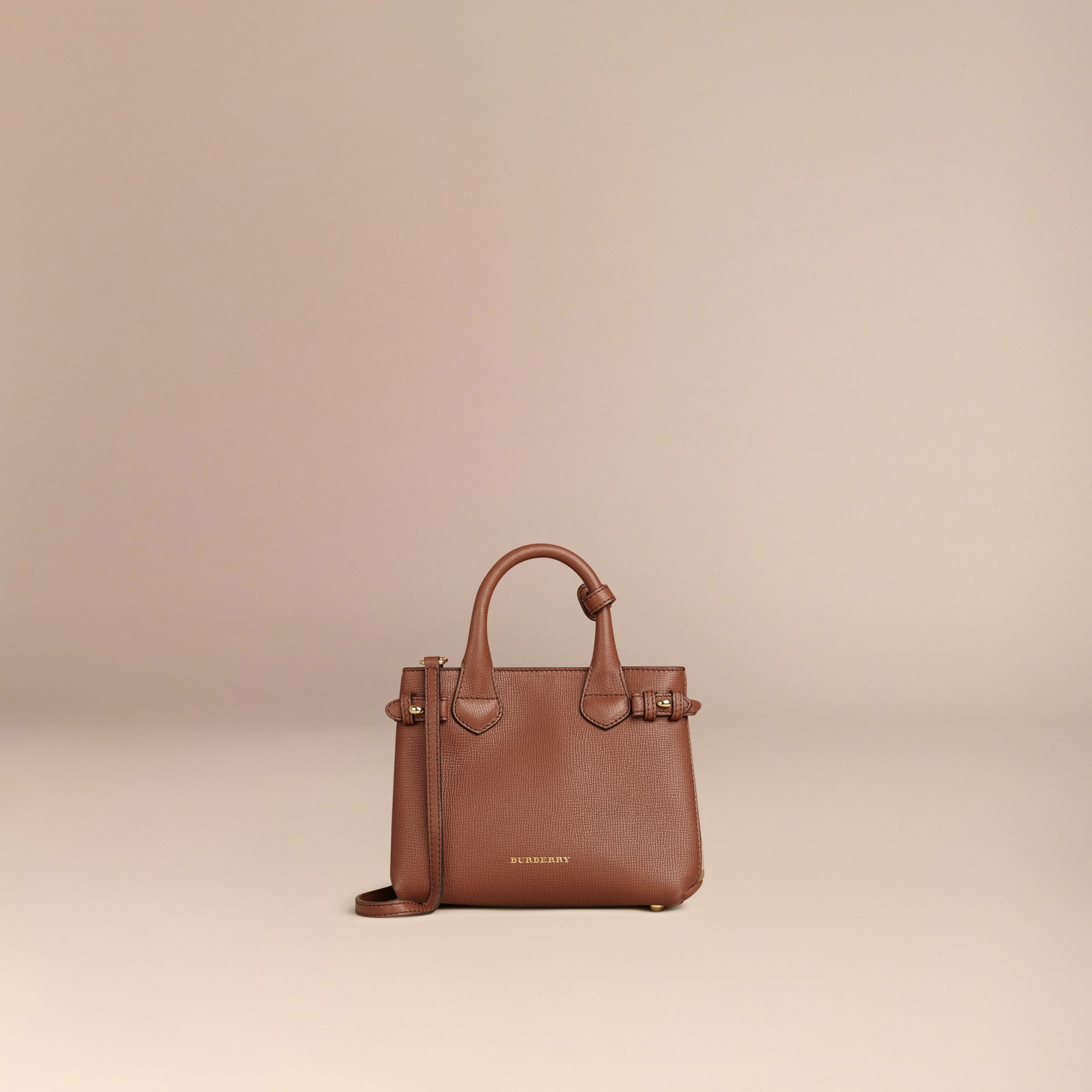 The Baby Banner in Leather and House Check in Tan - Women | Burberry - gallery image 5