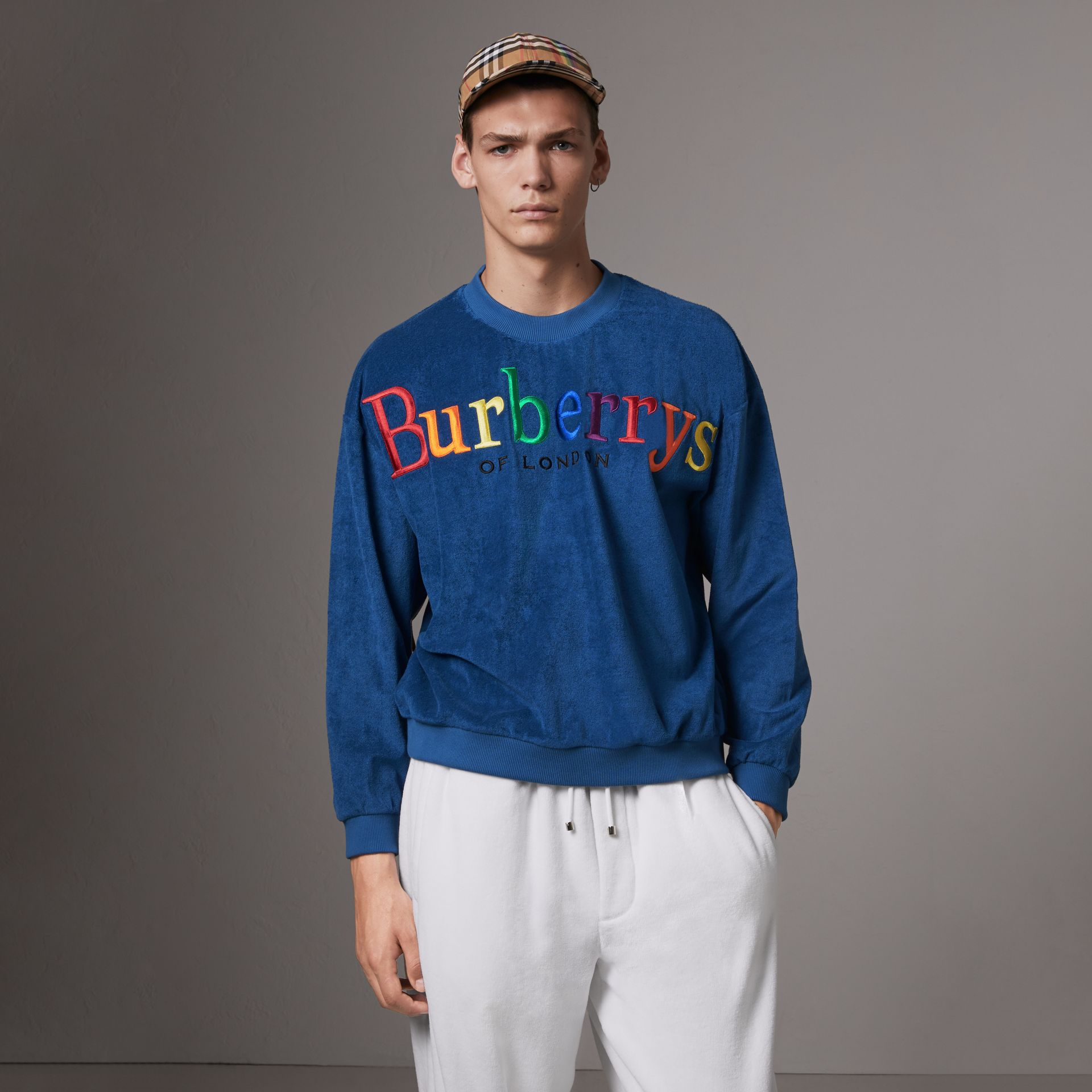Archive Logo Towelling Sweatshirt in Canvas Blue - Men | Burberry - gallery image 3