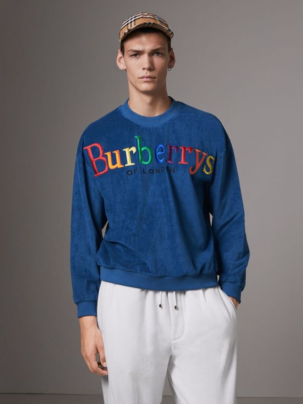 Archive Logo Towelling Sweatshirt in Canvas Blue - Men | Burberry United Kingdom - cell image 3