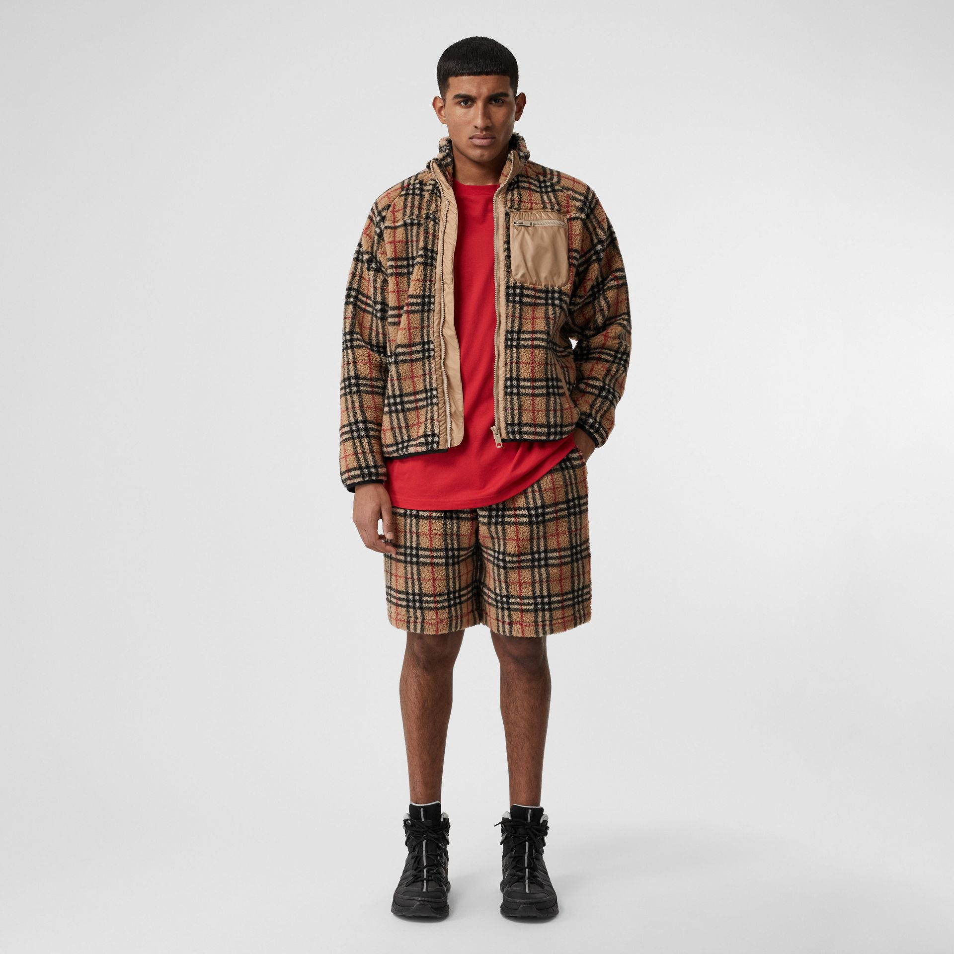 Vintage Check Faux Shearling Drawcord Shorts in Archive Beige - Men | Burberry Canada - gallery image 0