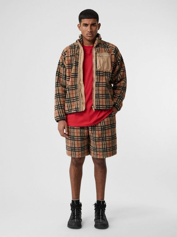 Vintage Check Faux Shearling Drawcord Shorts in Archive Beige