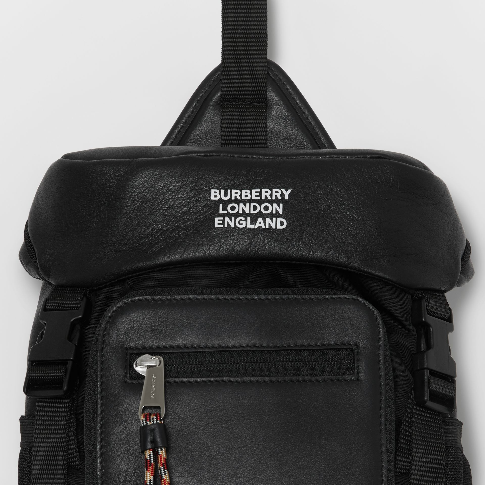 Logo Print Leather Leo Belt Pack in Black | Burberry - gallery image 1