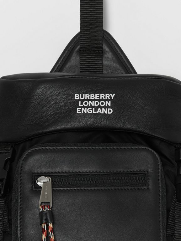 Logo Print Leather Leo Belt Pack in Black | Burberry - cell image 1