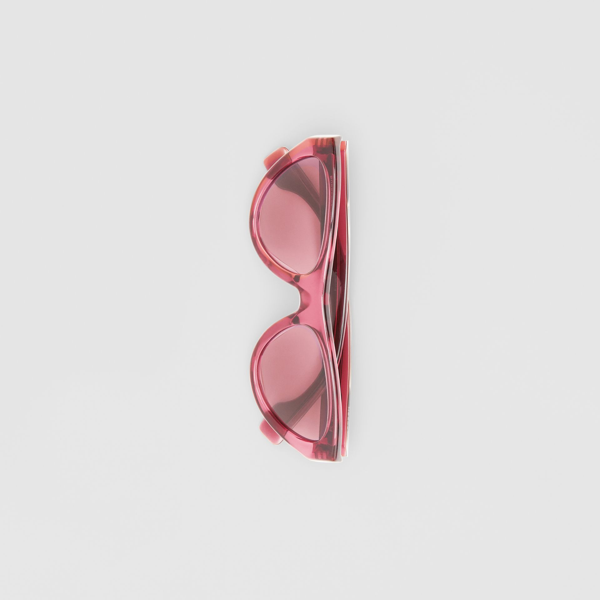 Triangular Frame Sunglasses in Cranberry - Women | Burberry - gallery image 3