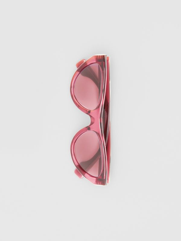 Triangular Frame Sunglasses in Cranberry - Women | Burberry United Kingdom - cell image 3