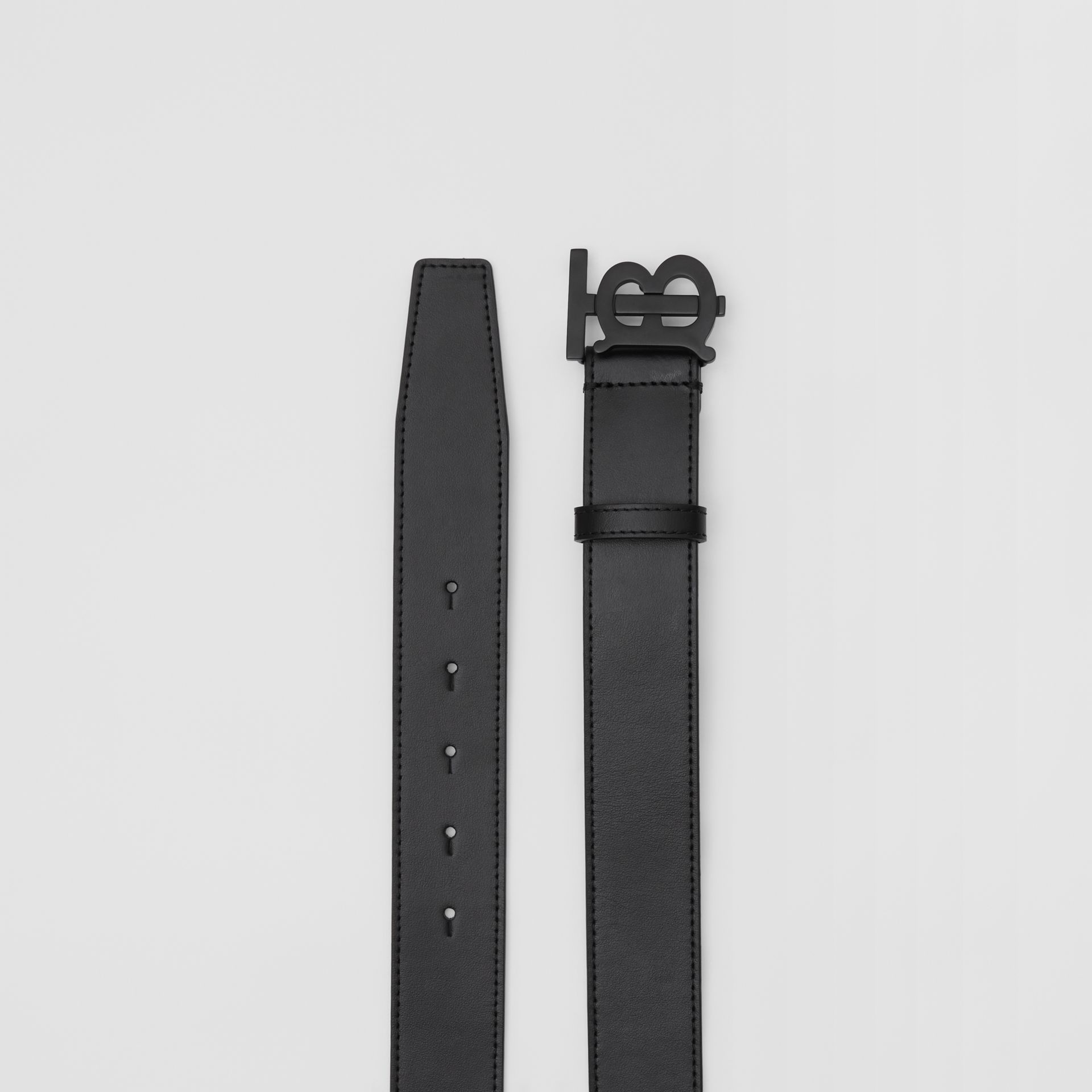 Matte Monogram Motif Leather Belt in Black - Men | Burberry - gallery image 5