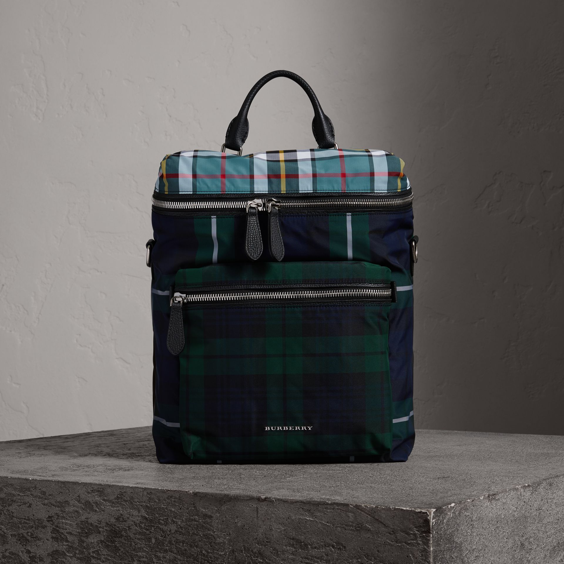 Zip-top Leather Trim Tartan Backpack in Forest Green - Men | Burberry - gallery image 0