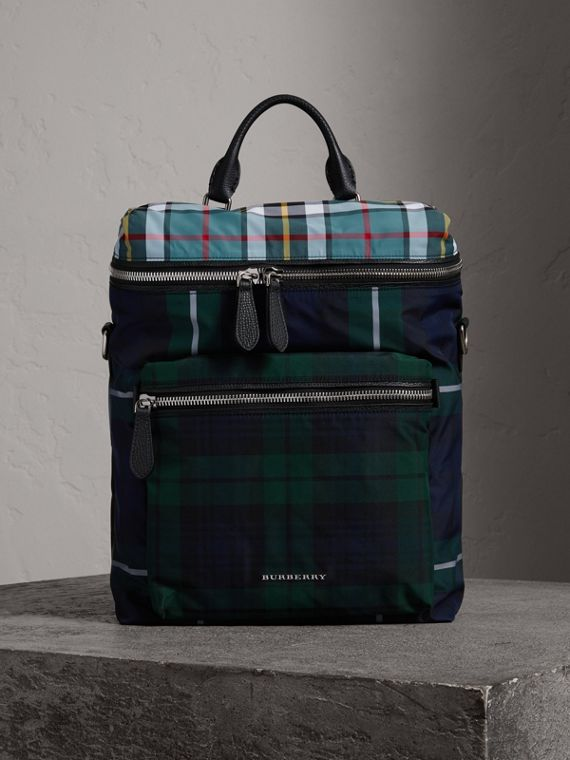 Zip-top Leather Trim Tartan Backpack in Forest Green