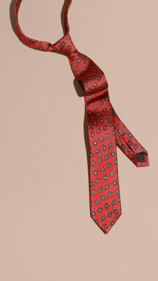 Modern Cut Geometric Print Silk Twill Tie